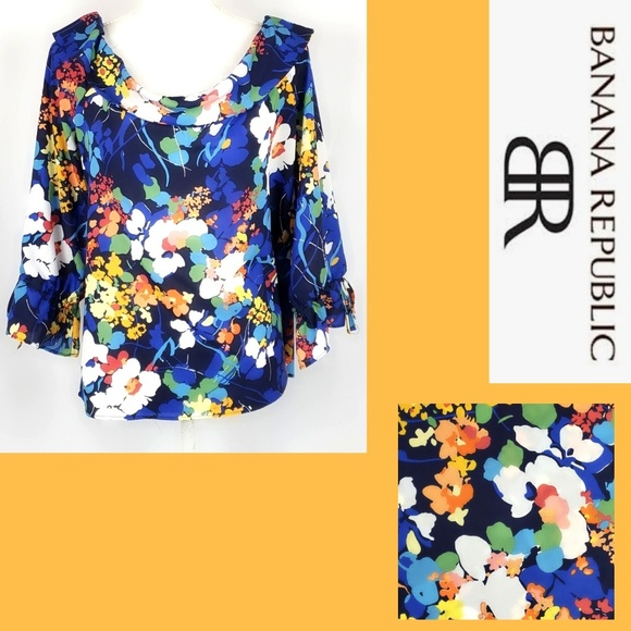 Banana Republic Tops - Banana Republic Floral Top Bell Sleeves Size Large